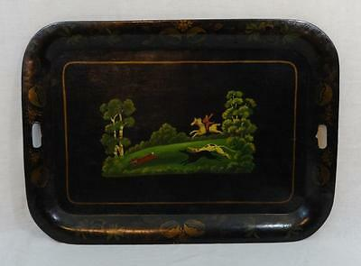 Antique Tole Painted Serving Tray Unusual Scene of a Foc Chase Late 19th Century