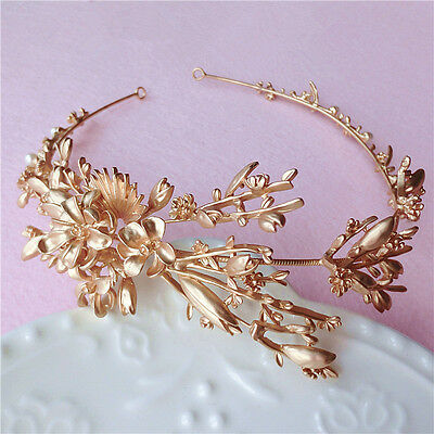 Vintage Wedding Bridal Flower Gold Crown Tiara Headband Hair Accessories Jewelry