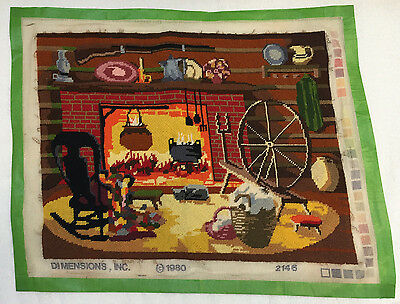 Dimensions Completed Needlepoint Canvas Vintage 1980 Cozy Hearth Firelpace #2146