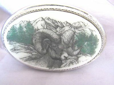 Big Horn Ram Mountain Oval Silver Tone Ceramic Wo-D 07 Janet..van..belt Buckle