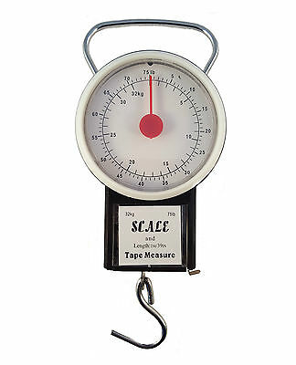 32Kg Portable Travel Suitcase Baggage Luggage Weighing Scale Hook Weight + Tape