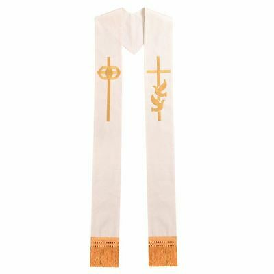 Blessume Embroidery Wedding Stole Dove Cross Ivory Stole Priest Clergy Church