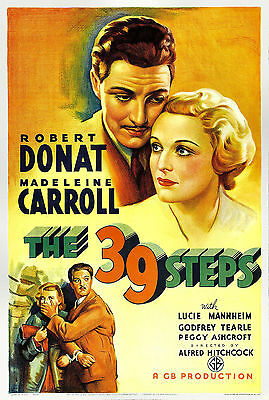 A3/A4 SIZE - Alfred Hitchcock The 39 Steps 1935 Old Cinema Movie Film Poster