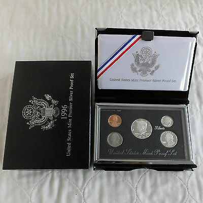 USA 1996 UNITED STATES MINT 5 COIN PREMIER SILVER PROOF SET - boxed
