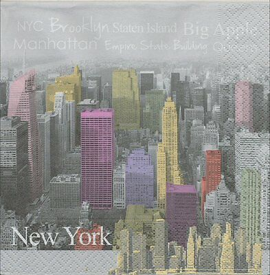 2 Serviettes en papier Ville Capitale New-York Couleur - Paper Napkins