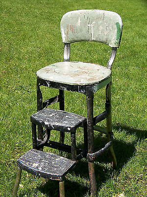 Vintage Cosco Metal Padded Seat Step Stool Chair Steampunk Industrial