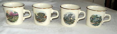 Maxwell House Taylor International FOUR Mugs Currier & Ives American Homestead