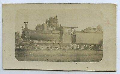 1918 Rp Postcard Port Augusta Steam Train Locomotive Train With Operators O89