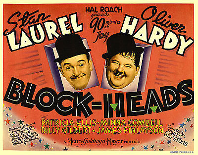 A3/A4 SIZE - Laurel and Hardy Blockheads Vintage Film Poster Movie / Old Vintage