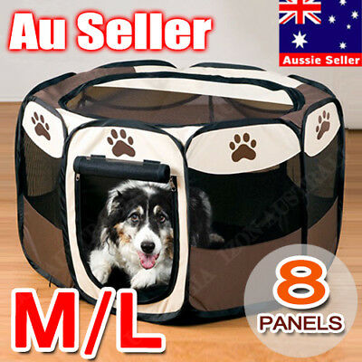 8 Panel Portable Puppy Dog Pet Exercise Playpen Crate Foldable Oxford Kennel