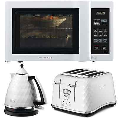 White DeLonghi Brillante Kettle-4Sl Toaster+Duo-Plate Microwave Kitchen Set NEW