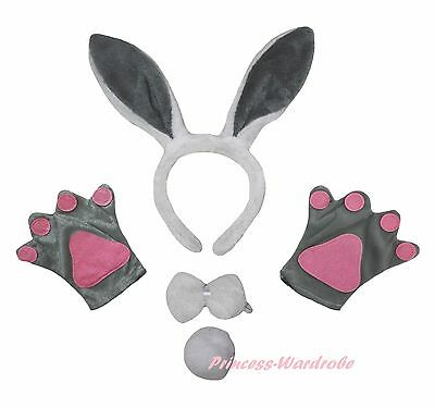 Easter Gray Bunny Rabbit Paw Glove Ear Headband Bow Tail 4P Unisex Party Costume