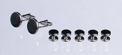 Shirt Studs and Cufflinks Set - Silver Colour Metal Decorated with Black Stone