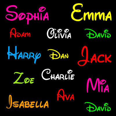 2 x Personalised Name Word Girls Boys Vinyl Decal Stickers