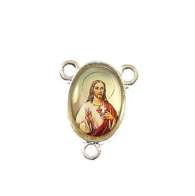 Catholic Jesus Sacred Heart image center metal rosary beads silver small 17mm
