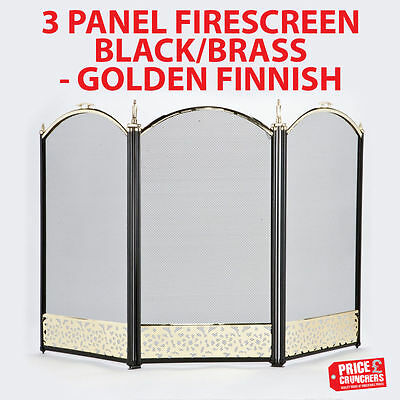 Fireplace Screen Protector Child Nursery Safety Fire Hearth Tools Gold Black