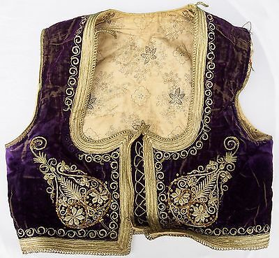 Antique Turkish Ottoman Folk Vest Embroidery Costume Gold Trim Yelek