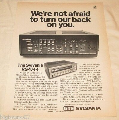 Vintage Sylvania RS 4744 Stereo Receiver PRINT AD 1975