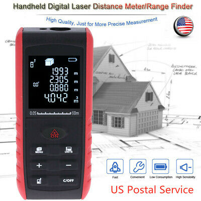 60m Digital Laser Distance Meter Range Finder Diastimeter Angle Indication Q4N1