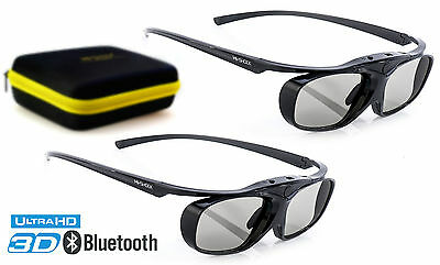 2x Hi-SHOCK 3D Shutterbrille Black Heaven für Bluetooth TV Sony, Samsung, Sharp