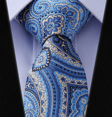 Mens Tie in Satin Navy & Sky Blue with Cream - Wedding Floral Paisley Silk Gift