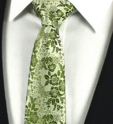 Moss Silk Mens Tie Sage Green Wedding Floral Paisley FREE Hanky Set 503