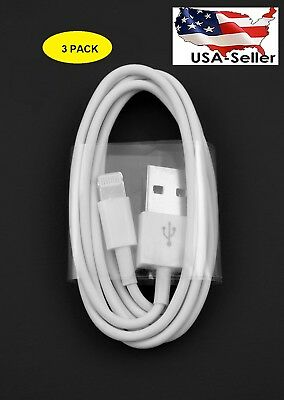 3 X 3 FT white USB Data Charger Cable Cord for iPhone X 8 7 6s Plus 6 5s SE