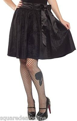 130441 Black Shadow Stripe Swing Skirt Sourpuss Satin Pinup Goth Retro  Large L 1c117a6ef