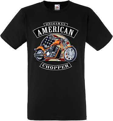 T-SHIRT NERO BIKER chopper-&oldscooldruck Modello Originale Americano Chopper
