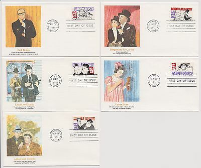 US FDC 1991 Screen Comedians 5 Fleetwood Covers Jack Benny Abbott and Costello|