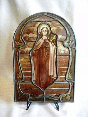 Antique Spectacular Original Stained Glass Religious Vitraux Church St Therese