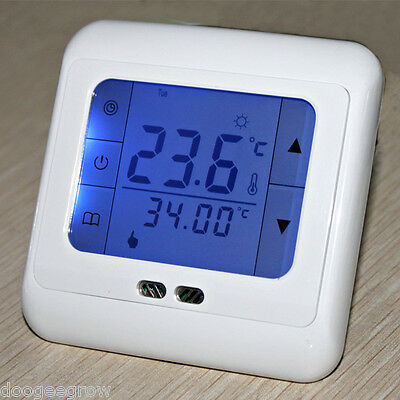 16A White TouchScreen Digital Programmable  Thermostat Temperature Controller UK