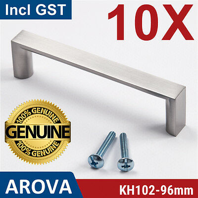 10X 96mm Square Handle Pull Kitchen Cabinet Cupboard Door Stainless Steel Finish