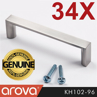 34X 96mm Square Handle Pull Kitchen Cabinet Cupboard Door Stainless Steel Finish
