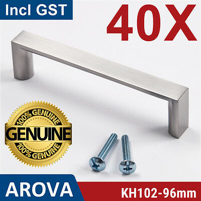 40X 96mm Square Handle Pull Kitchen Cabinet Cupboard Door Stainless Steel Finish