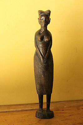 Vintage African carved wooden figure of a Woman.