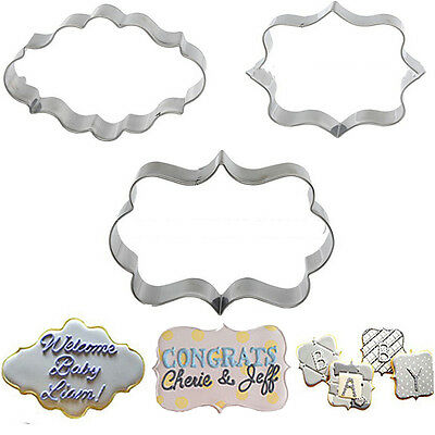 2016 3Pcs DIY Cookies Cake Frame Mould Pastry Fondant Sugarcraft Decorating Mold