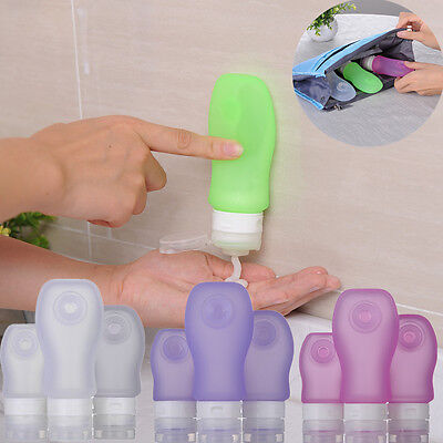 3PC Leak-proof Silicone Travel Bottles Squeeze Shampoo Toiletry Lotion Container