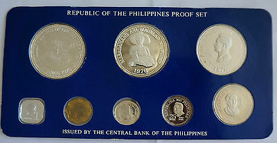 PHILIPPINES 8 Coins Proof Set 1976 w/ 2 Silver Crown