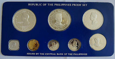 PHILIPPINES 8 Coins Proof Set 1975 w/ 2 Silver Crown