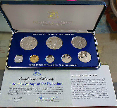 PHILIPPINES 8 Coins Proof Set in Box 1975 w/ 2 Silver Crown