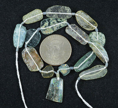 Ancient Roman Glass Beads 1 Medium Strand Aqua And Green 100 -200 Bc 387