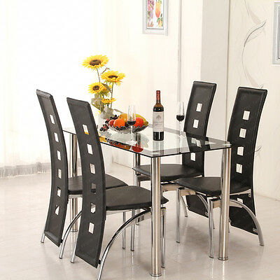 Dining Table Set With Chairs 8mm Thickened Glass Black Faux Leather Dining Room