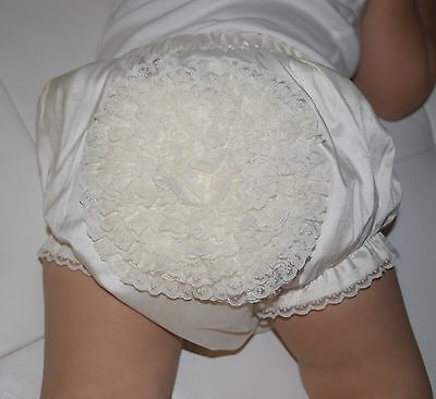 Delicate Elegance Unisex Christening Photo Prop Frill Bloomers Nappy Cover Pants