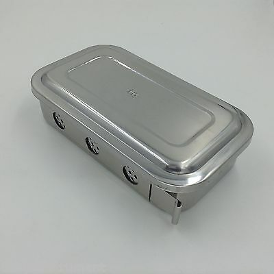 "Stainless steel Instruments tray case 8"" with hole sterilization tray surgical"