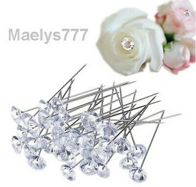 ***FLEURS  BOUQUET , EPINGLE TETE DIAMANT ***decoration mariage,lot 20pcs,6,5mm.