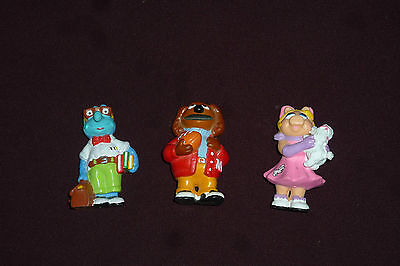 """Lot of 3 Hard to Find Muppet Show 50s Style PVC 2.5"""" Figurines Rolf Gonzo Piggy"""