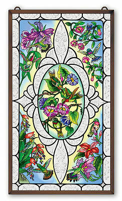 """AMIA STAINED GLASS 13"""" x 23"""" VINTAGES HUMMINGBIRD WINDOW PANEL  #41657"""