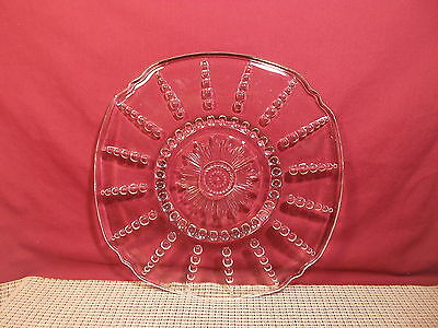 Federal Depression Glass Columbia Clear Round Platter Chop Plate 11""
