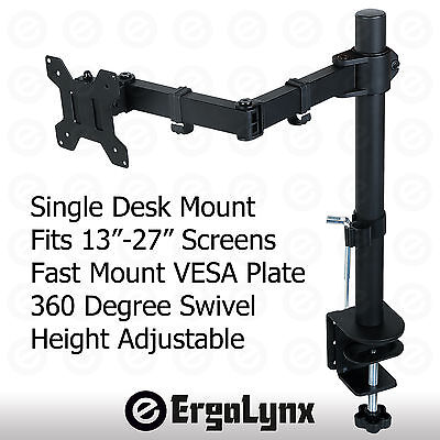 "Single Monitor Arm Desk Mount Computer Screen Bracket Stand 13""-27"" LCD LED TV"